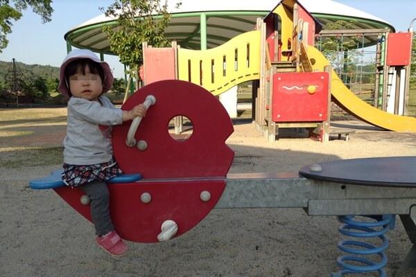 五条中央公園 小さい子用の遊具 滑り台あり