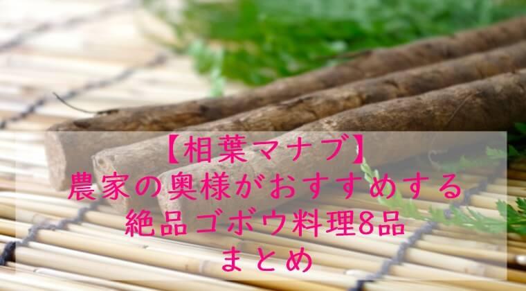 相葉マナブ ごぼう料理 まとめ 11月22日