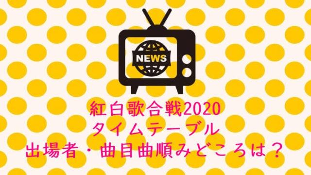 紅白歌合戦2020 タイムスケジュール タイムテーブル 出場者 曲目 曲順