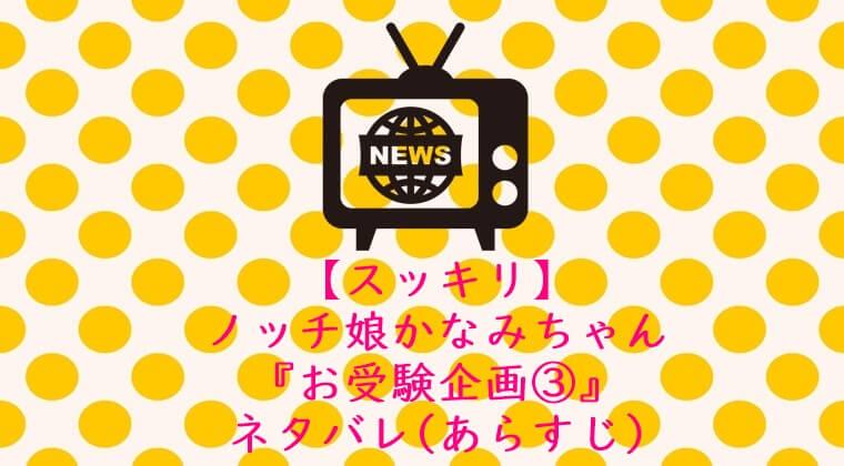 【スッキリ】ノッチ娘かなみちゃん『お受験企画3』ネタバレ(あらすじ)